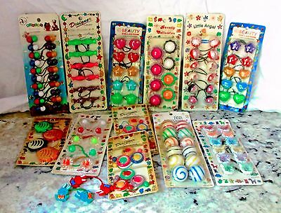 12 PACKAGES of Vintage Ponytail Holders Twin Bead Multi Color Size