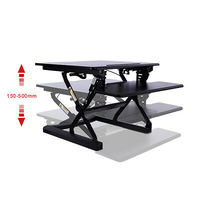 CrystalTec OF101DM Height Adjustable Sit Stand Standing Desk - 89cm x 59cm