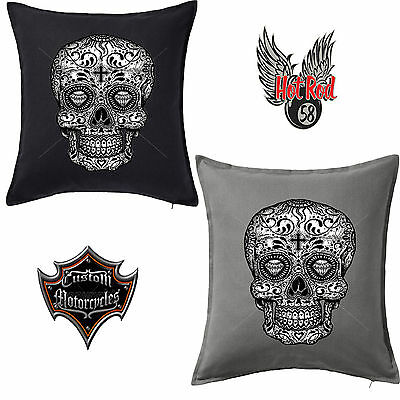 Black Sugar Skull Tattoo Goth Biker Cotton Throw Pillow Case Cushion Cover 124