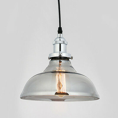 Modern Smoke Glass Pendant Light Ceiling Lamp Chandelier with chrome Holder