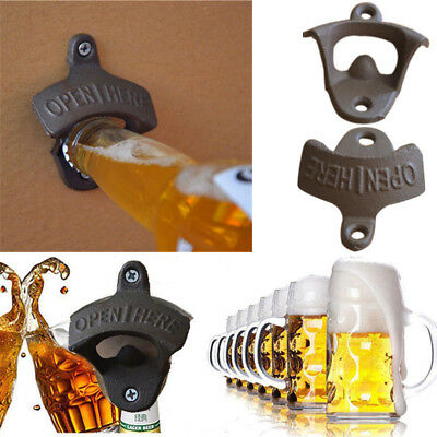OPEN HERE Wall Mounted Bottle Top Opener Man Cave Bar Rustic Style Cast Iron