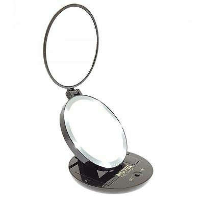 LED Lighted Makeup Mirror Travel Compact Pocket Adjustable Foldable Base Black