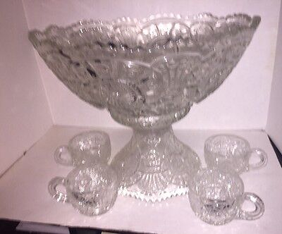 2 Piece Pressed Glass Punch Bowl With 4 Cups
