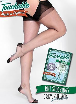 RHT Full Contrast Stockings - Grey / Black Small by Touchable