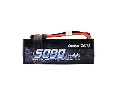 Gens ace LiPo Battery Pack 5000mAh 14.8V 50C 4S HardCase with Deans T Plug fo...
