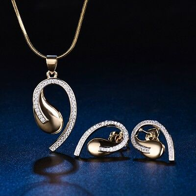Eternity Women Sapphire Crystal Earring Necklace Set Gold Filled Wedding Jewelry