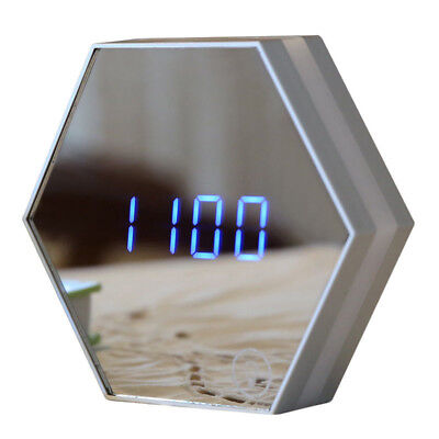 Rechargeable 4in1 Digital Mirror Alarm Clock w/ USB LED Night Light Thermometer