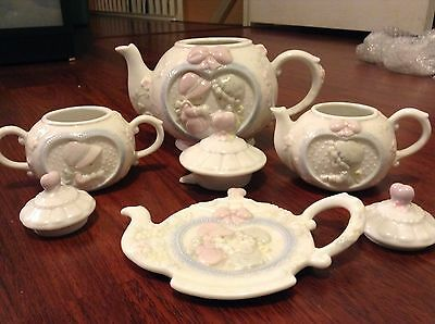 Precious Moments Tea Set Collectible Gift Item Teapot Spoon Rest Sugar Cream