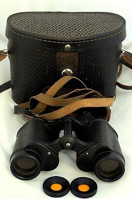 Vintage Russian Soviet Military Binoculars 8x30 Leather Case Yellow Filters
