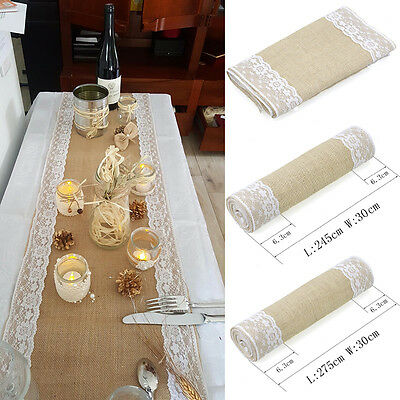 Rustic Jute Hessian Burlap Lace Table Runner Wedding Party Table Decoration
