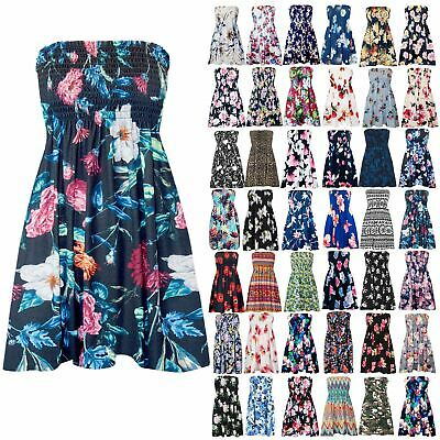 Womens Ladies Sheering Floral Rose Printed Boobtube Bandeau Strapless Dress Top