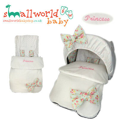 Personalised White With Meadow Bows 4in1 Footmuff Cosytoes (NEXT DAY DISPATCH)