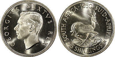 South Africa, 1950 George VI 5 Shillings, Crown, PCGS PL - 65.