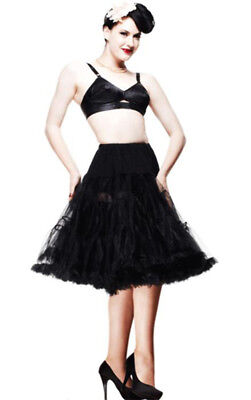 Hell Bunny Rockabilly Pin Up Retro Long Black Petticoat Pettiskirt 50's Vintage