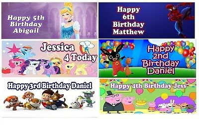Childrens PERSONALISED Birthday Banners *Pack of 2* Large 1ft x 3ft (Unofficial)