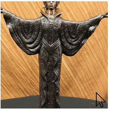 chiparus Vintage Deco Lady And The Parrot / Bronze Sculpture Statue FigurineCB