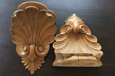 Carved Pair of Large Oak Corbells