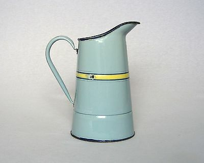 VINTAGE FRENCH ENAMELWARE WATER PITCHER in cheerful summer blue and yellow hue