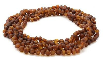 """Amber Wholesale Lot - 5 pcs of Raw Cognac Baltic Amber Adult Necklaces, 17.7"""""""