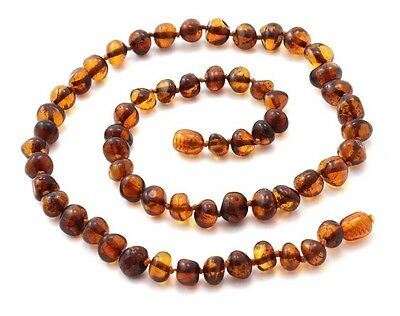 """Baltic Amber Necklace for Adults, Dark Cognac Color, 17.7"""" (45 cm), TipTopEco"""