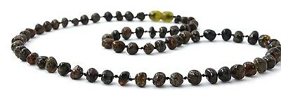 """Baltic Amber Necklace for Adults, Dark Green Color, 17.7"""" (45 cm), TipTopEco"""
