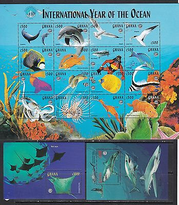 Ghana 1998 year of ocean marine life fish birds sharks klb+s/s MNH