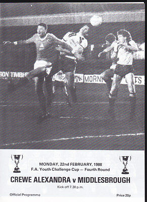 1987/88 CREWE ALEXANDRA V MIDDLESBROUGH 22-02-1988 FA Youth Cup 4th Round
