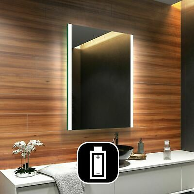 Modern LED Illuminated Bathroom Mirror 500x700mm Battery Operated L19 24h