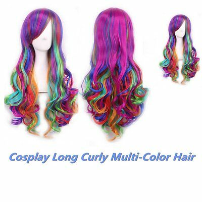 Rainbow Long Mixed Multi Colors Fashion Women Cosplay Fancy Party Curly Hair Wig