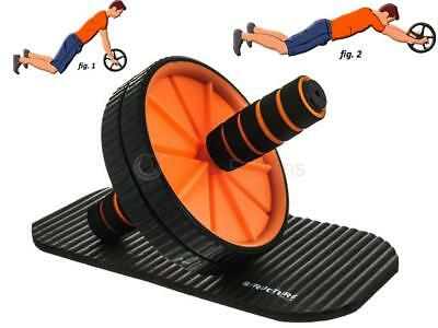 Structure Fitness Dual Ab Roller & Knee Mat Gym Exercise Wheel Slim Tone Arms