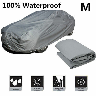 Waterproof Medium Size M Full Car Cover Breathable UV Protection Outdoor Indoor