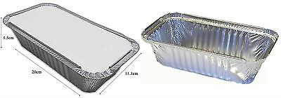 6 Large Silver Foil Food Trays Disposable Lids Catering Serving Takeaway Dish