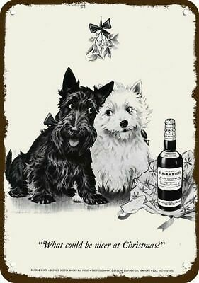 1950 BLACK & WHITE WHISKY Vintage Look REPLICA METAL SIGN - WESTIE & SCOTTY DOG