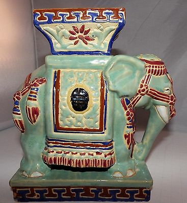 """Vintage Hand Painted Glazed Porcelain Elephant Plant Candle Stand Statue 9"""" T"""