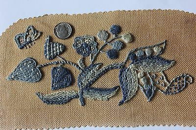 Vintage Blue Hand Emb Flowers & Butterfly Crewel Work On Wool Fabric c1940-50