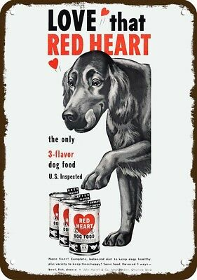 1950 RED HEART DOG FOOD Vintage Look Replica Metal Sign - Cute IRISH SETTER DOG