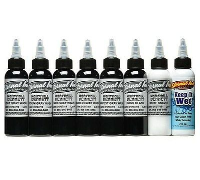 ETERNAL Tattoo Ink Marshall Bennett Signature Gray Wash Color Set 8 Bottles 1 oz