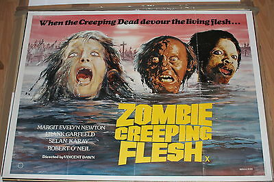 Zombie Creeping Flesh Original Uk Quad Horror Poster Pre Cert Int Video Nasties