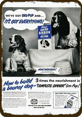 1950 KELLOGG'S GRO PUP DOG FOOD Vintage Look METAL SIGN ENGLISH SPRINGER SPANIEL