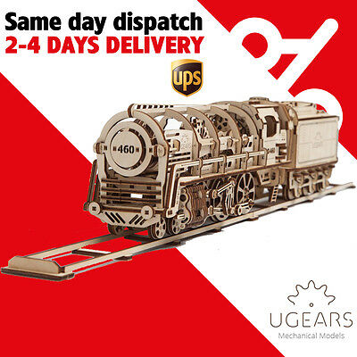 Ugears Locomotive with Tender 460 3D Wooden mechanical 3D Puzzle self-assembly