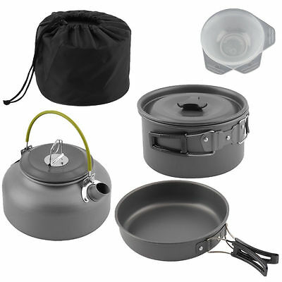 Portable Camping Cook Cooking Cookware Kit Anodised Aluminium Pots Pan Kettle SQ