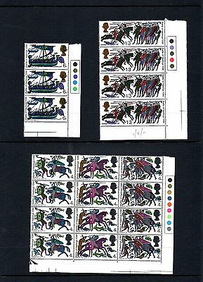 GB - 1966 Hastings traffic light blocks, mounted mint postage stamps