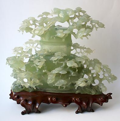 Large Chinese 20th c. celadon green Jade Urn with Pine Tree & Cranes wooden Base