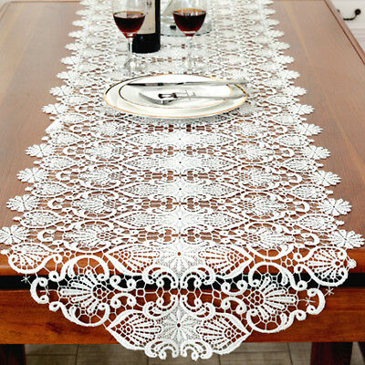Lace Embroidered Table Runner White Hollow Out Table Cloth Home Deco Modern Soft