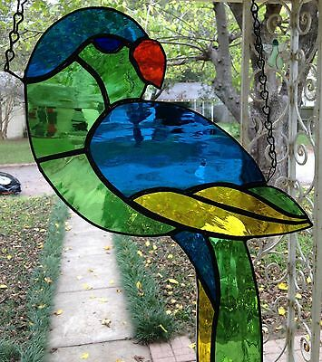 "Stained Glass Suncatcher Large Tropical Parrot in Brilliant Colors - 10"" x 16"" ."