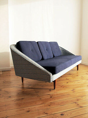 VINTAGE RE-UPHOLSTERED 3 SEATER SOFA 1950's retro danish teak