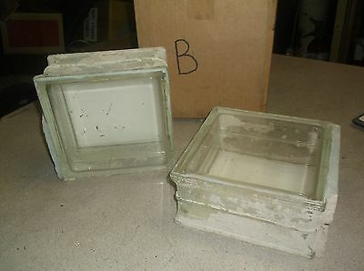 "Vintage Architectural Glass Block 7-3/4"" x 7-3/4"" x 3-7/8"", Lot of 2"