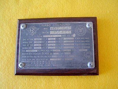 Orig. Wright R-3350 Radial data plate. This type eng. used to set World Record.