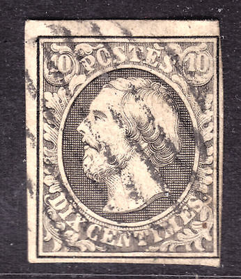 LUXEMBOURG #1 10c GRAY BLACK, 1852 IMPERF, F, GRID