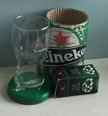 New Heineken Collectors Glass and Tin Amsterdam 10oz And New Poker Chip Set